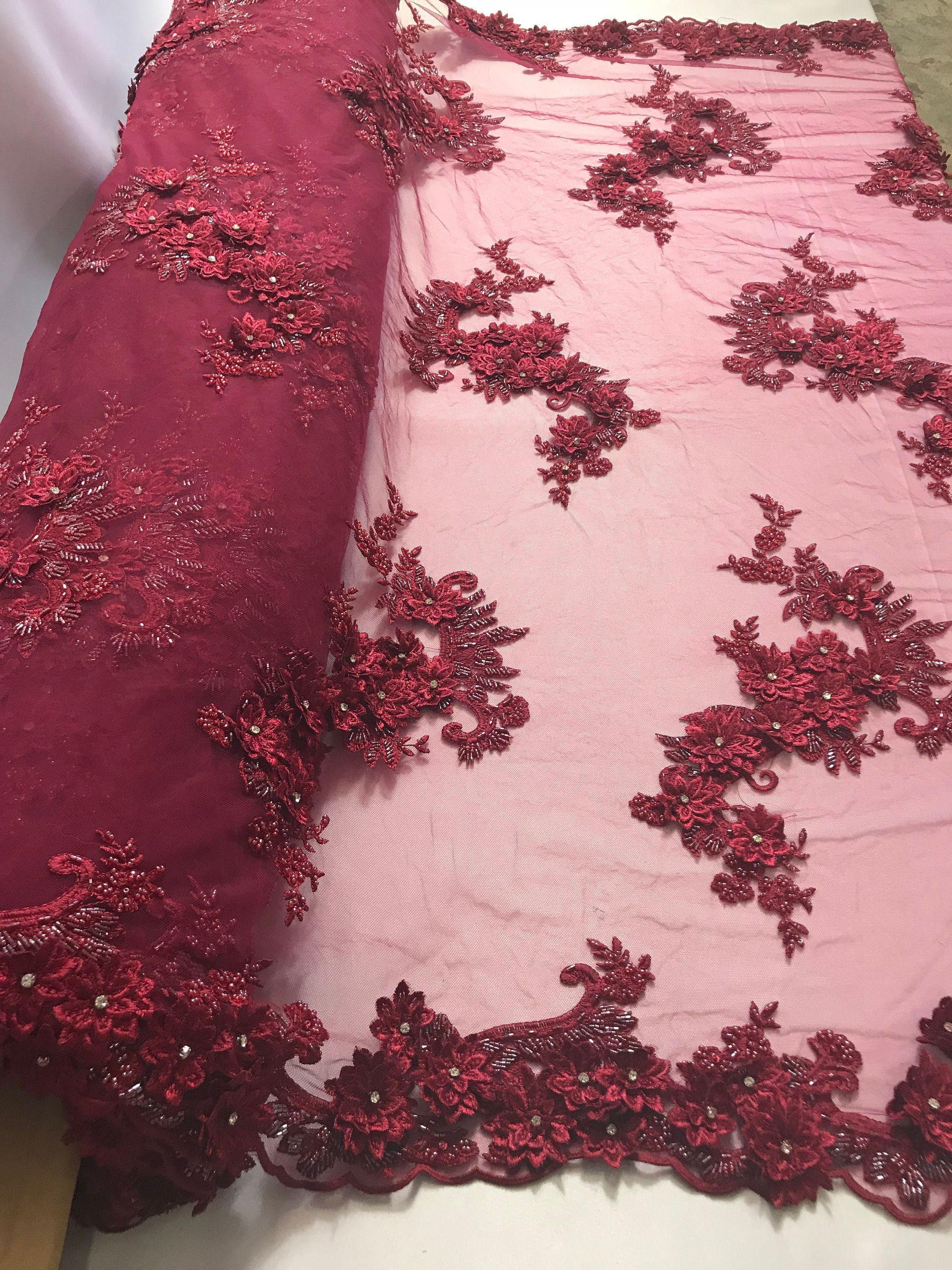 Embroider Beaded On A Mesh For Bridal Veil Flower-Floral Mesh Dress Wedding-Gown-Prom Lace Fabric By The Yard Burgundy Beaded Fabric