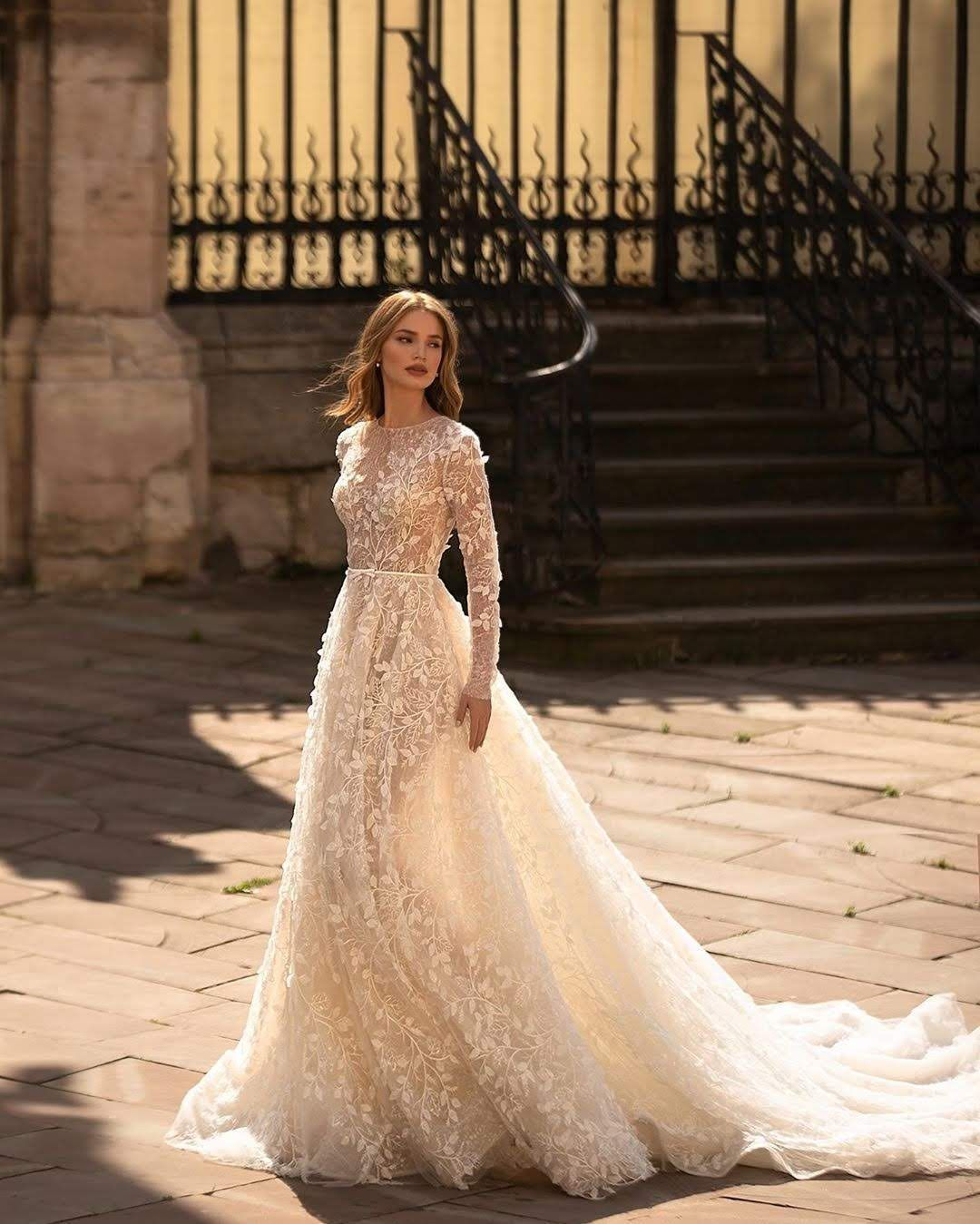 Romantic Wedding Dress With Long Sleeves Long Sleeve Wedding Dress Lace Lace Wedding Dress With Sleeves Long Wedding Dresses [ 1349 x 1080 Pixel ]