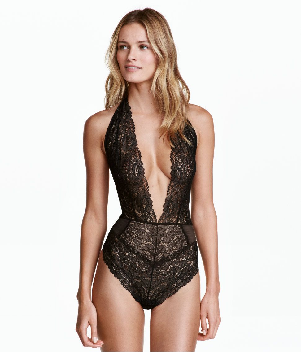 Check this out! Halterneck bodysuit in lace and mesh. Low-cut V-neck ... d75d29f53
