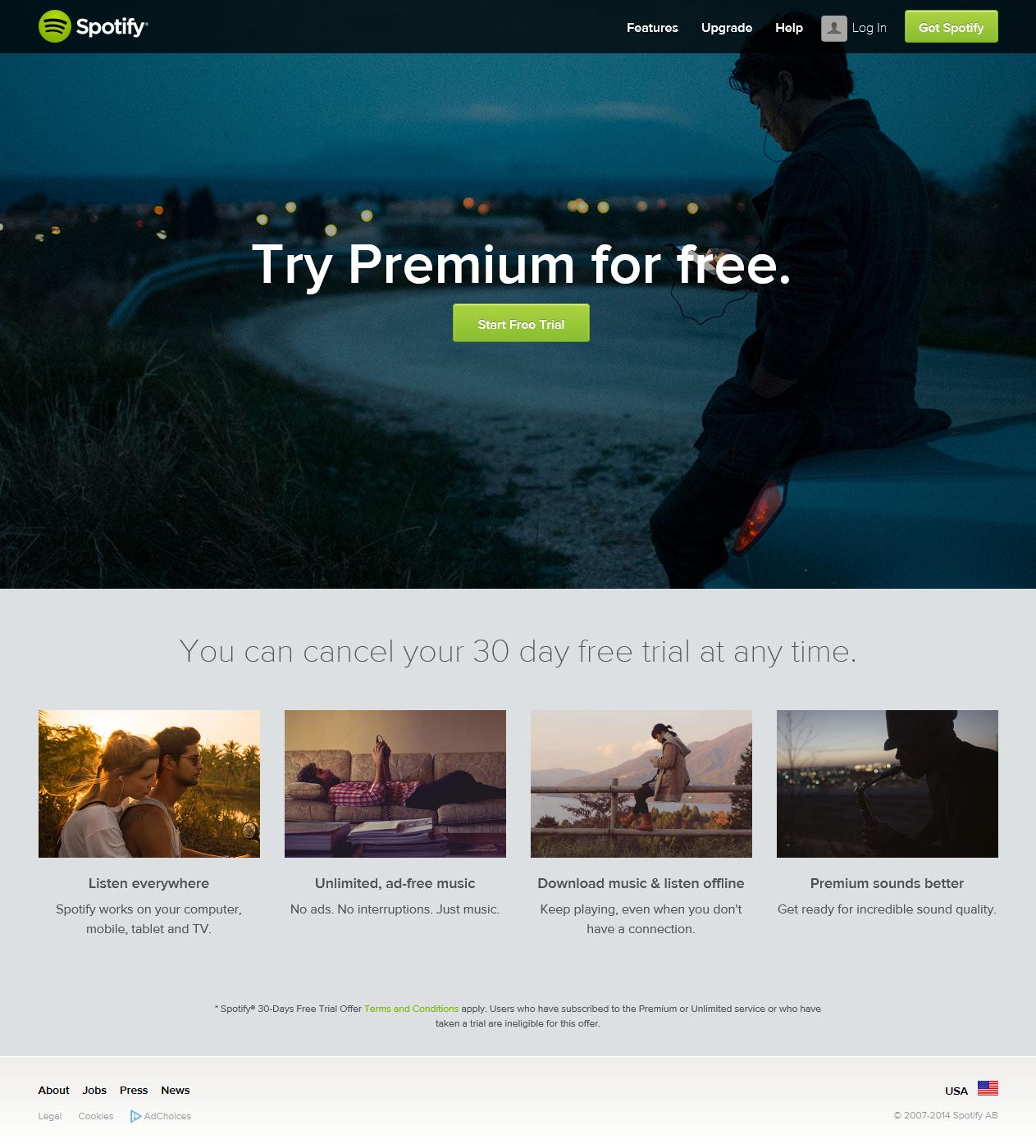 Free Trial Spotify Landing Page Traffic Spotify Premium