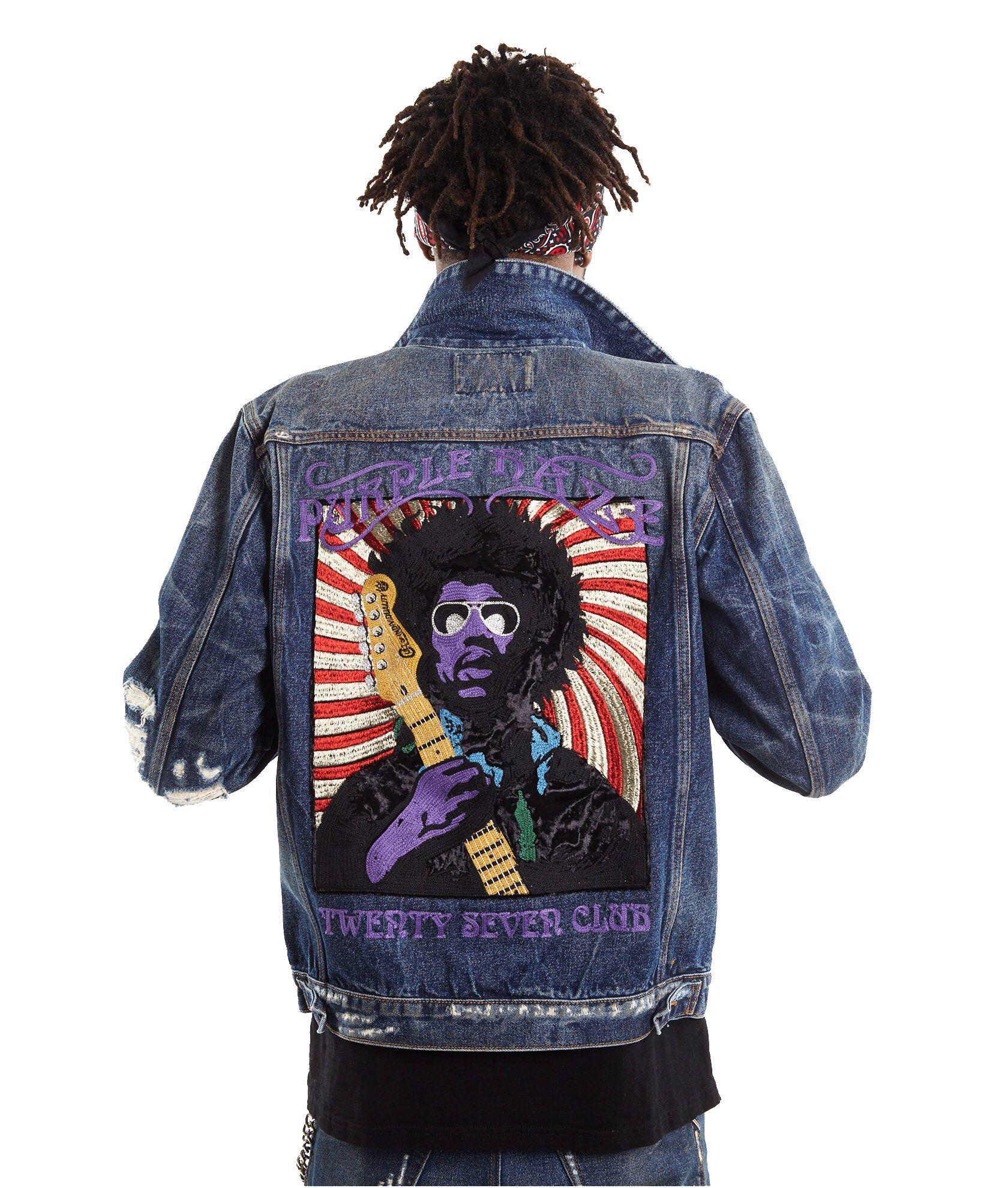 40b1faf0 Jimi Hendrix Purple Haze Men's Denim Jacket - Cult of Individuality ...