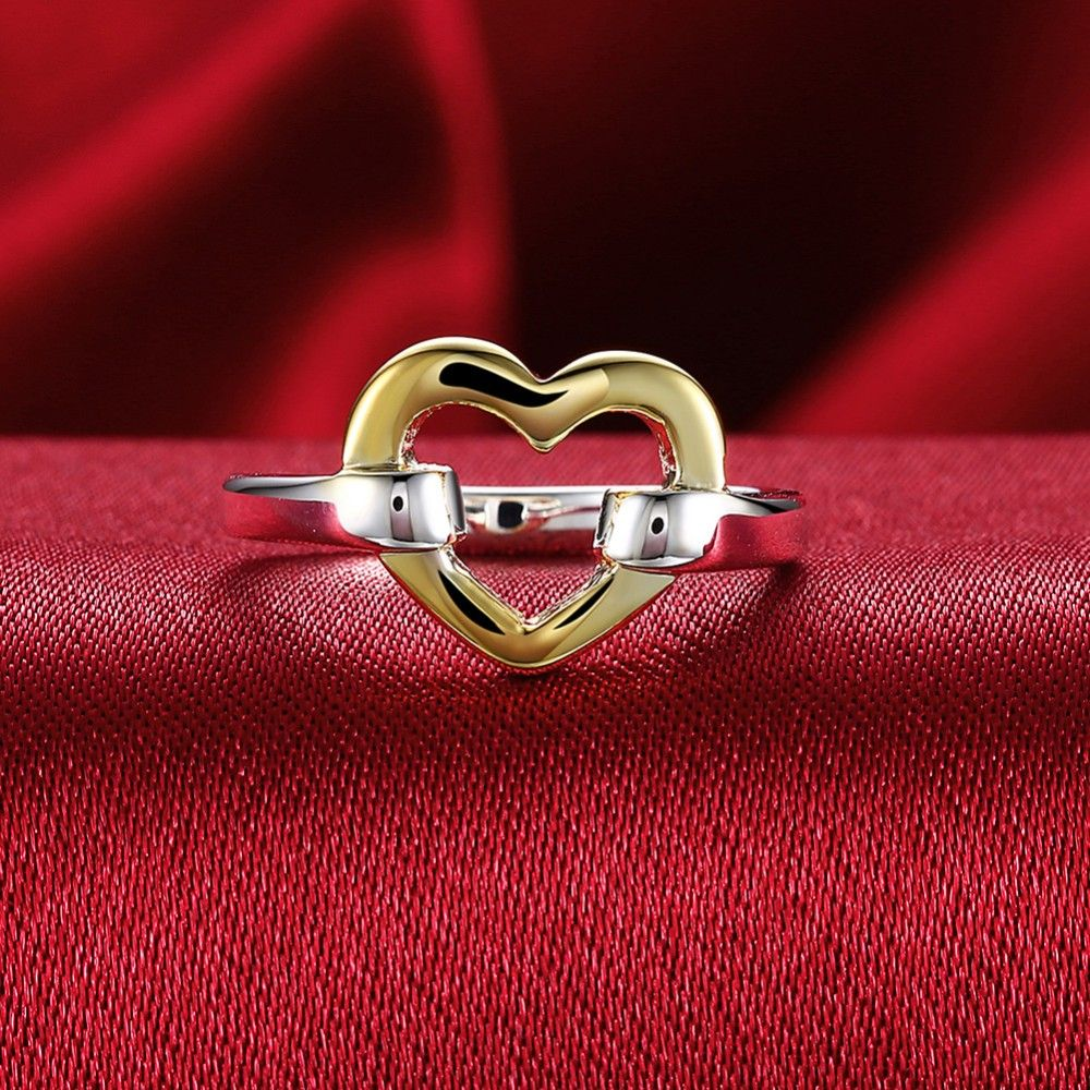 hot sale silver golden heart finger ring valentines day gift