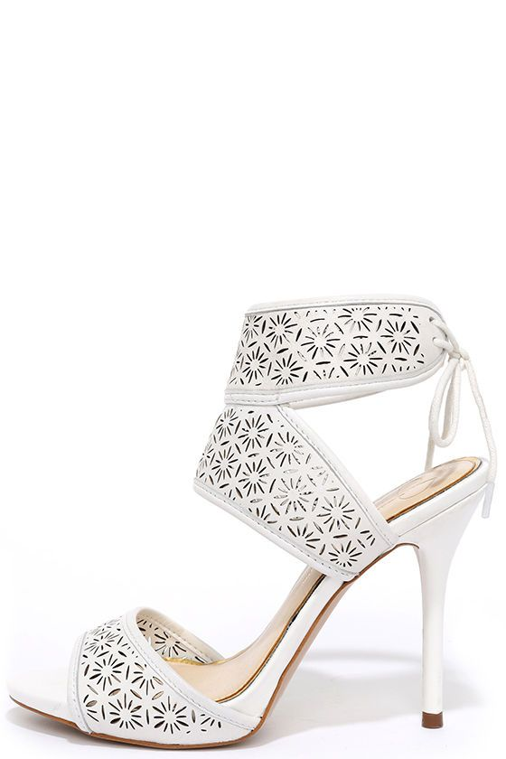 e55e56c55c9 Jessica Simpson Barcia Powder White Leather Heels at Lulus.com!