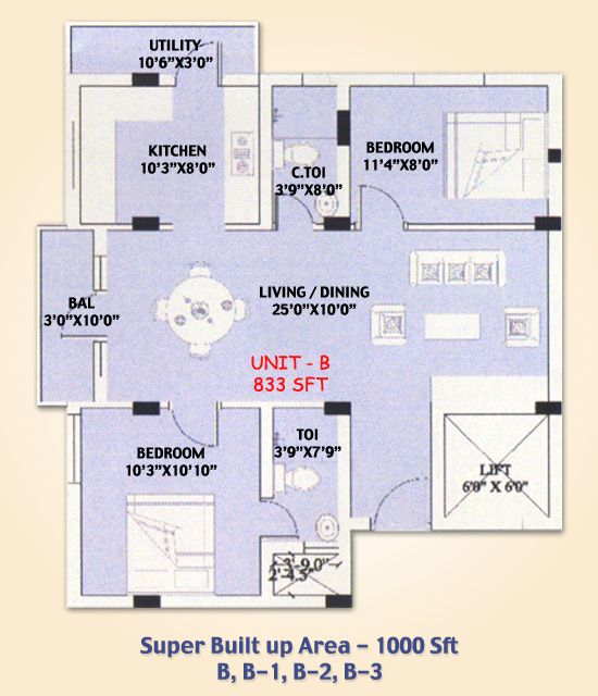 SMB Towers Karaikudi, Flat No B, B-1, B-2, B-3, in double bedrooms and total Area of 1000 Sqft and the Main Door Facing North, luxurious lifestyle dream house at lowest price