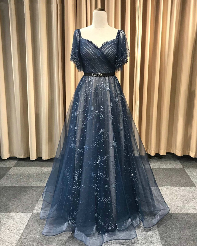 Deep Blue Lace Long A Line Prom Dress, Evening Dress With Sleeve – Dresses