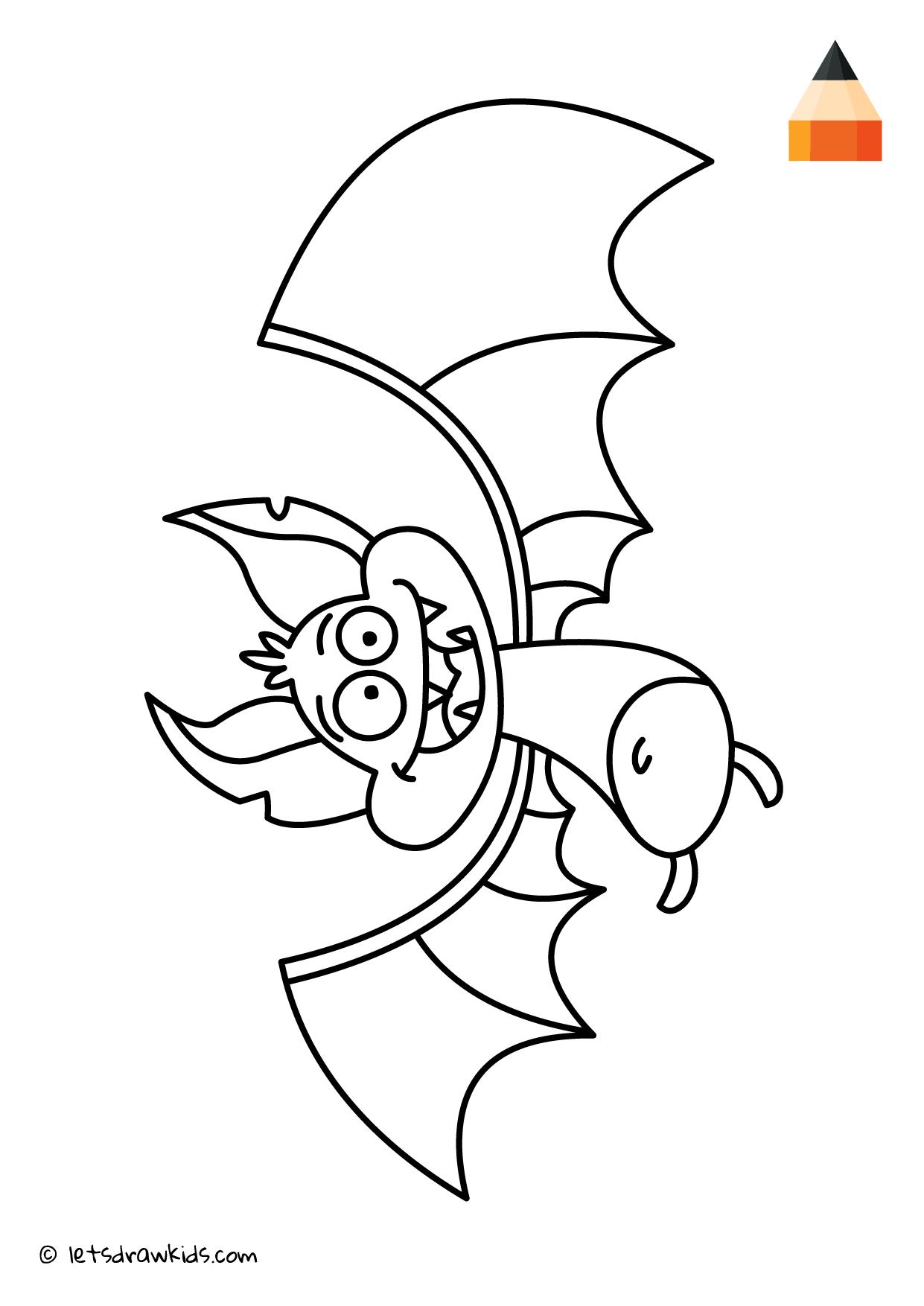 Coloring Page - Bat | Coloring pages | let\'s draw kids | Pinterest ...