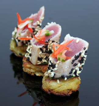 Sesame tuna and potato fritter canapes nibbles and for Gourmet canape ideas