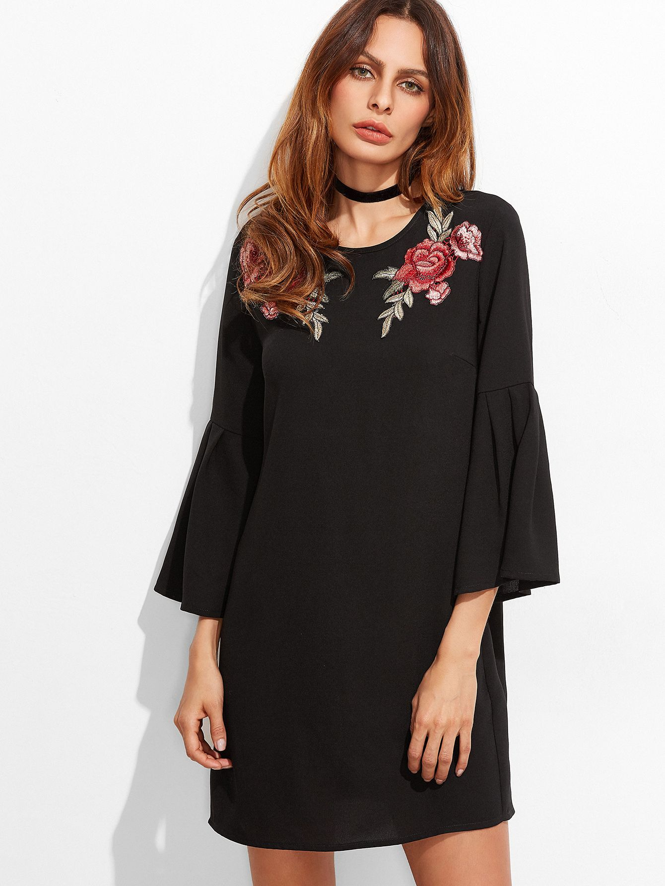3f59a27acfc9b Online shopping for Black Embroidered Rose Applique Bell Sleeve Tunic Dress  from a great selection of women's fashion clothing & more at MakeMeChic.COM.