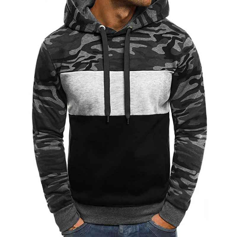 Fashion Men S Camouflage Color Matching Slim Fleece Hooded Sweatershir Oscfit Camouflage Fashion Hoodies Hoodies Men Pullover