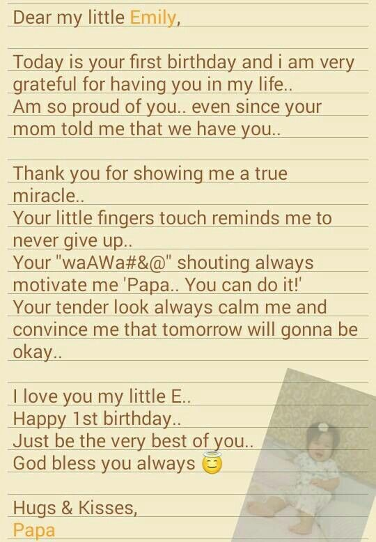 1st birthday letter to my daughter :) | Eleana Emily