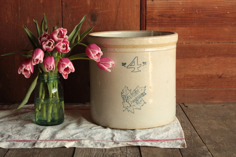 Vintage Stoneware Crock, 4 Gallon Crock, Antique Crock, Crocker Planter, House Plant Pot, Farmhouse Umbrella Stand, Rustic Umbrella Holder by OurVintageBungalow on Etsy https://www.etsy.com/listing/285403287/vintage-stoneware-crock-4-gallon-crock