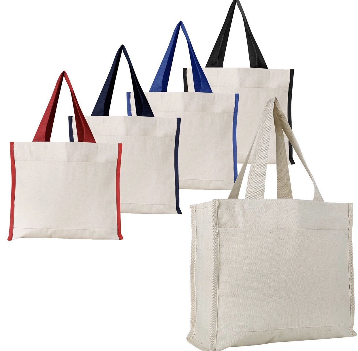 d0e38c456 Wholesale Canvas Tote Bags with Front Pocket Blank or Printed Shop at  BagzDepot with Confidence! As low as $3.60