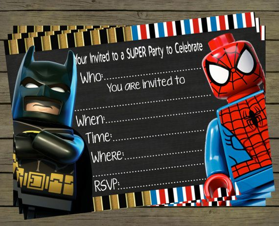 Batman Party Superhero Lego Spiderman Digital Invitations Goodie Bags Birthday
