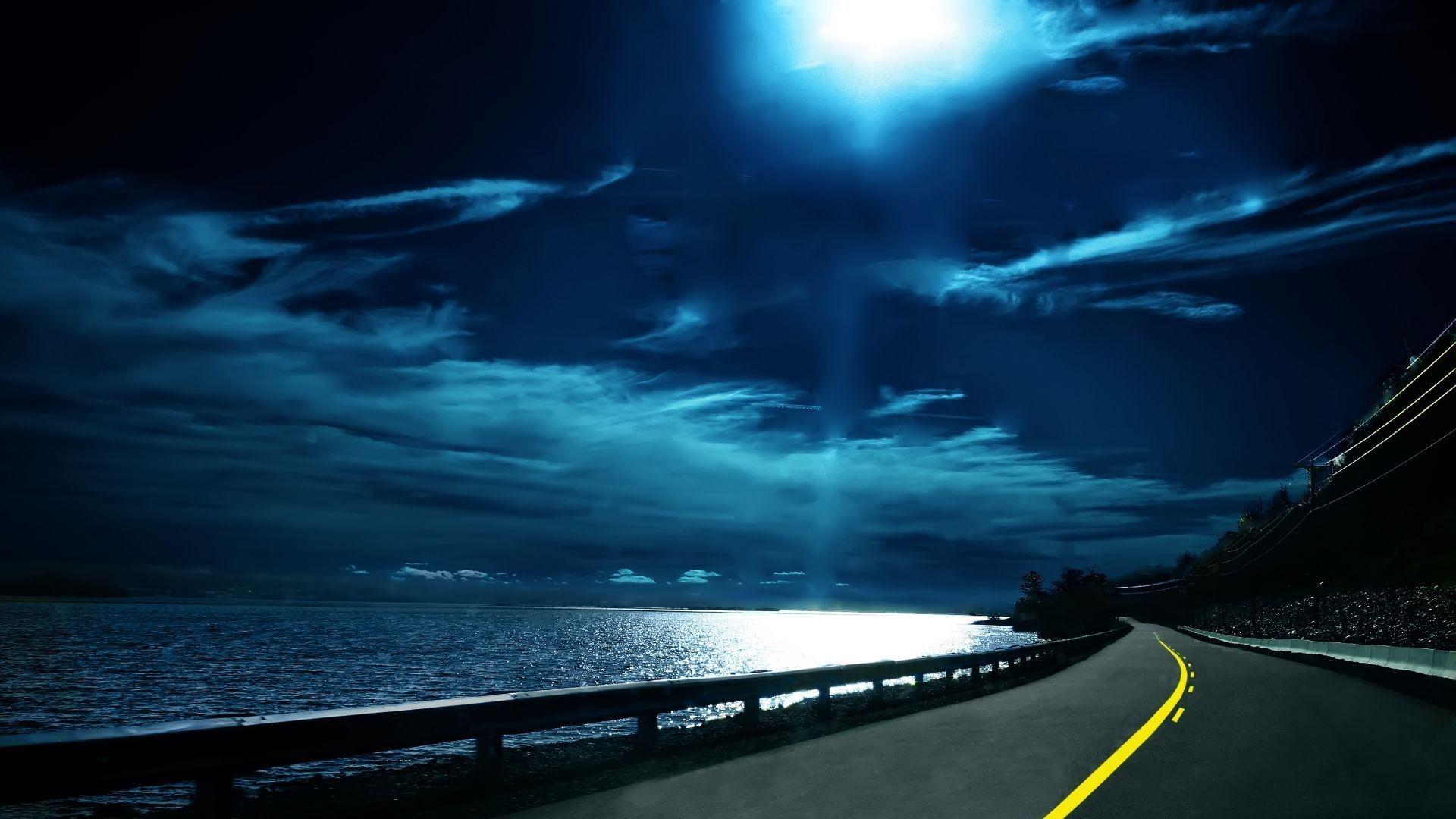 cool sea moon night time full screen hd wallpaper. | 3d | pinterest