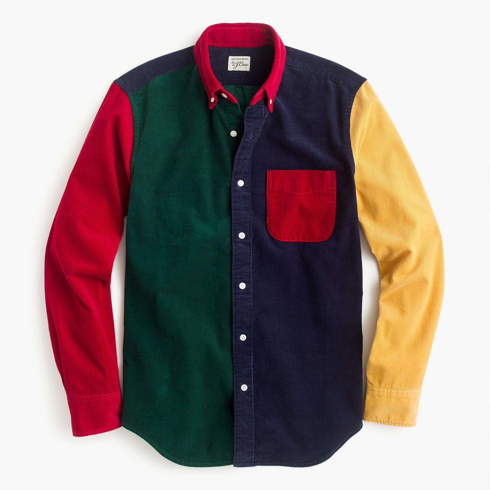 Corduroy shirt in colorblock : Men shirts | J.Crew | Mens