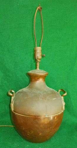 Lamp Massive Copper Covered Handle Orb URN Vintage Old Patina Large Scale Decor