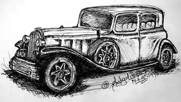 ball pen sketch of classic car | shahzad saifi sketch | Pinterest ...
