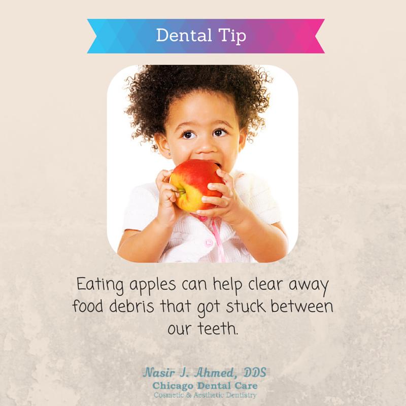 Eating apples can help clear away food debris that got stuck between our teeth. #dentaltip