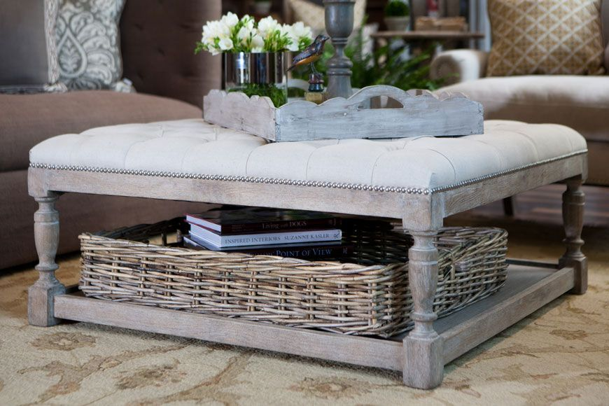 Wicker Furniture Cushions Upholstered Ottoman Coffee Table