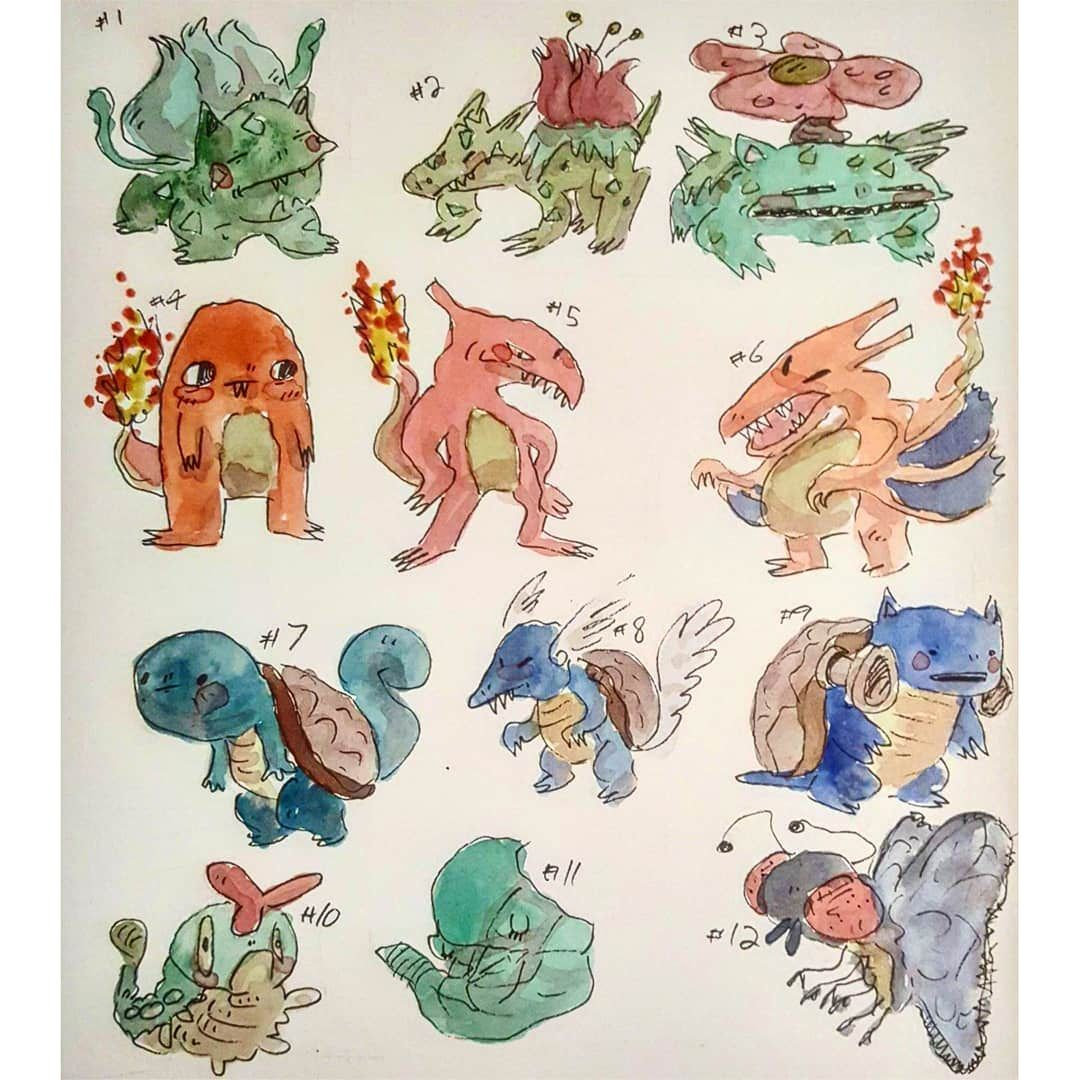 I drew all of the first gen pokemon with images first