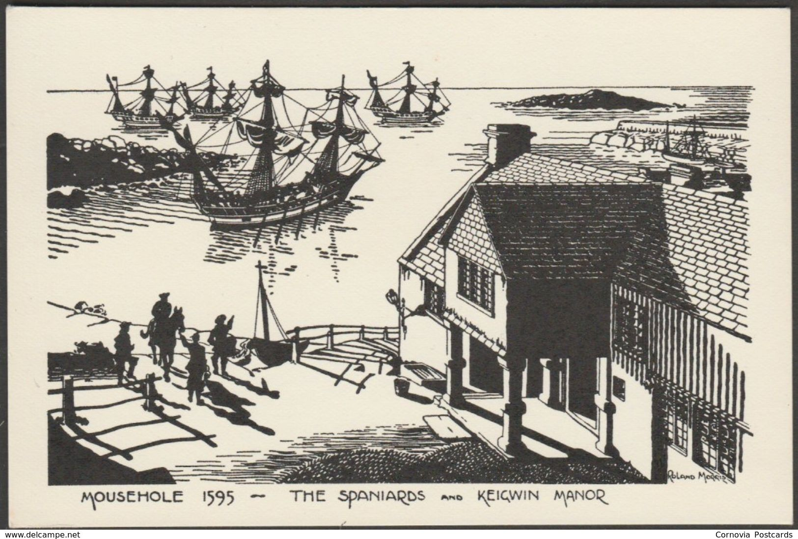 The Spaniards and Keigwin Manor in 1595, Mousehole, Cornwall, c.1960 - Postcard