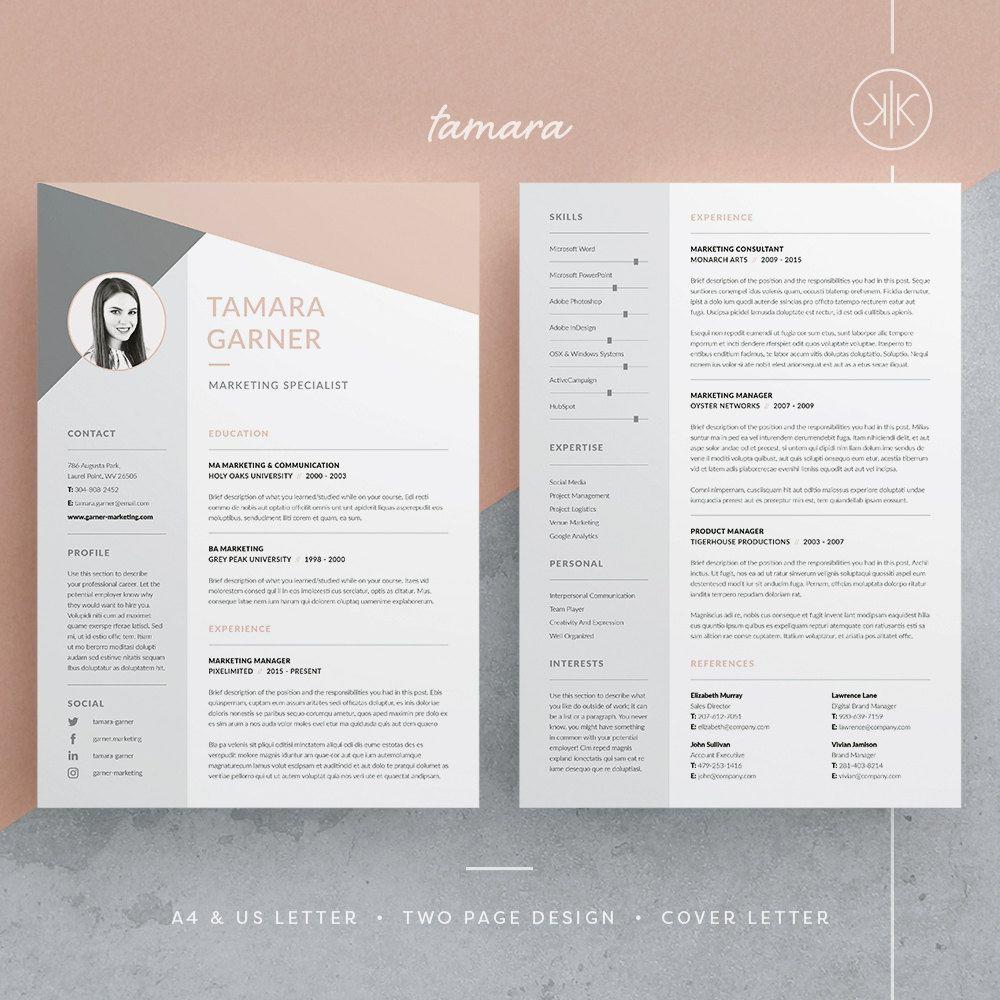Tamara Resume Cv Template Word Photoshop Indesign Professional Resume Design Cover Letter Instant Download Cv Template Word Resume Design Creative Resume Design