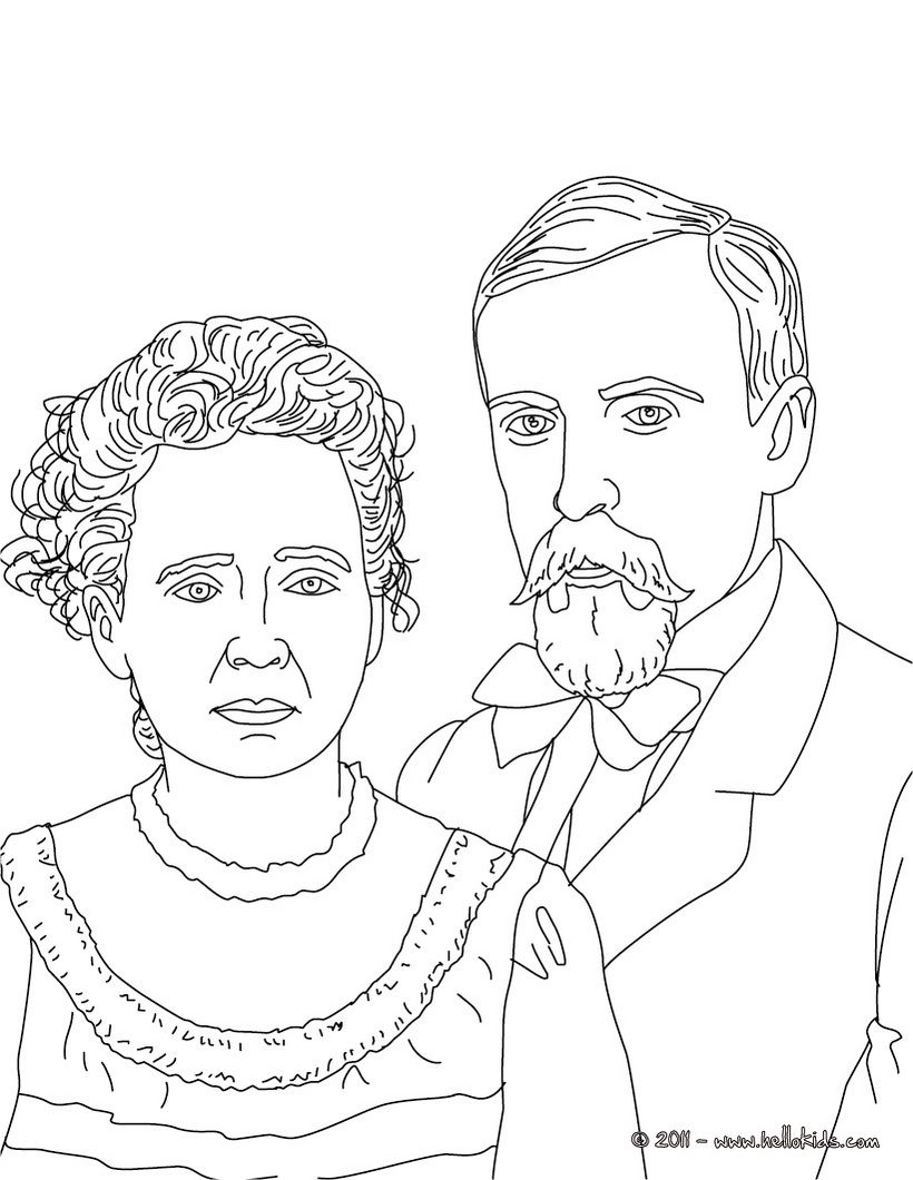 Pierre And Marie Curie Coloring Page With Images Coloring