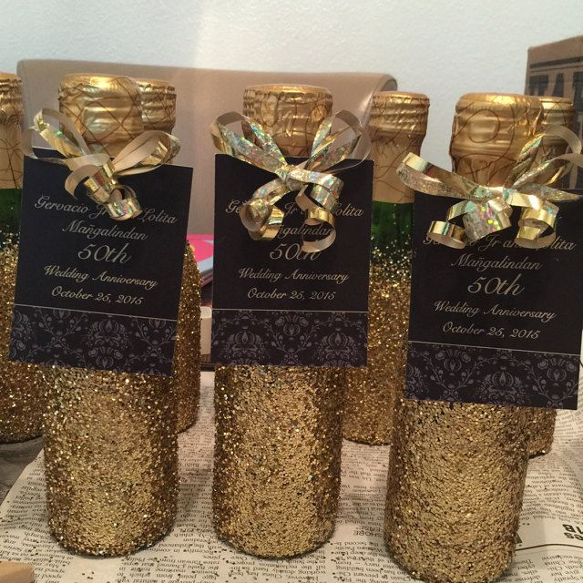 50th Wedding Anniversary Mini Wine Bottles With Glitter And Personalized Tag Make The Best Party Favor