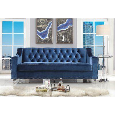 Mercer41 Mota Velvet 83 5 Square Arm Sofa Wayfair Blue Velvet Sofa Velvet Sofa Navy Blue Velvet Sofa