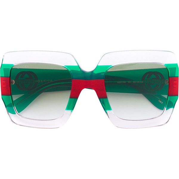 95f37dbdb8 Gucci Eyewear oversized signature stripe sunglasses ( 320) ❤ liked on Polyvore  featuring accessories