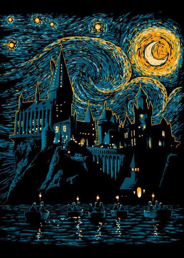 Displate Poster Starry School Harry Potter Potter Hogwarts Starry Night Van Gogh Moon Movie Harry Potter Wallpaper Harry Potter Art Harry Potter Tshirt