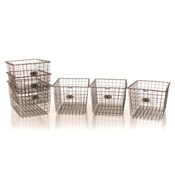 Industrial Loft Locker Wire Storage Baskets  Set Of 6