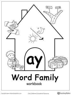 AY Word Family Workbook for Kindergarten | Word Family Worksheets ...