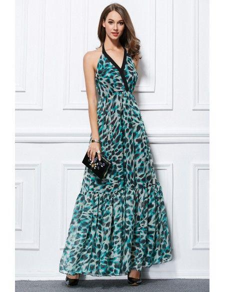 Stylish Halter Floral Print Chiffon Long Wedding Guest Dress #CK432 ...