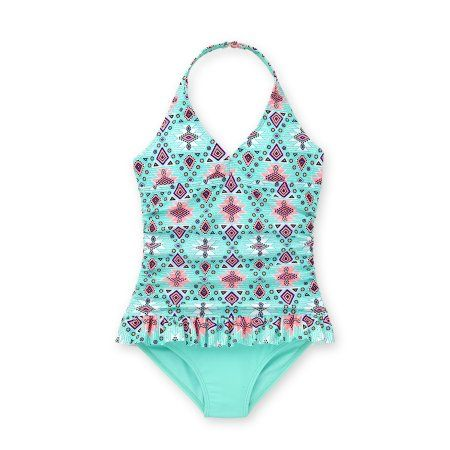 78ab2457aa813 Wonder Nation Girls' Neo Tribe Print Fashion 1 Piece Swimsuit, Size: 6/6X,  Green