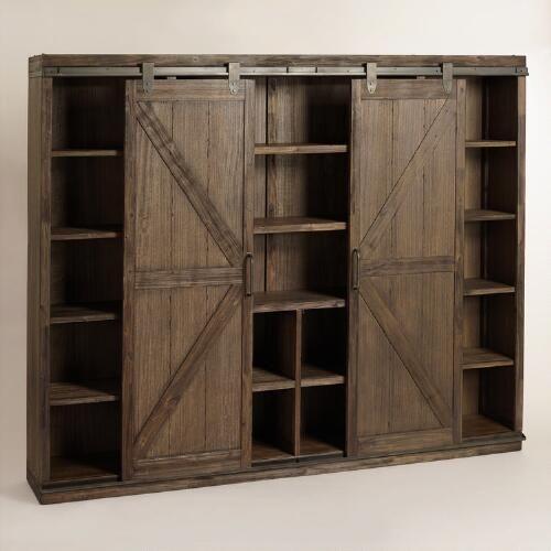 Wood farmhouse barn door bookcase barn doors tv for Farmhouse sliding door