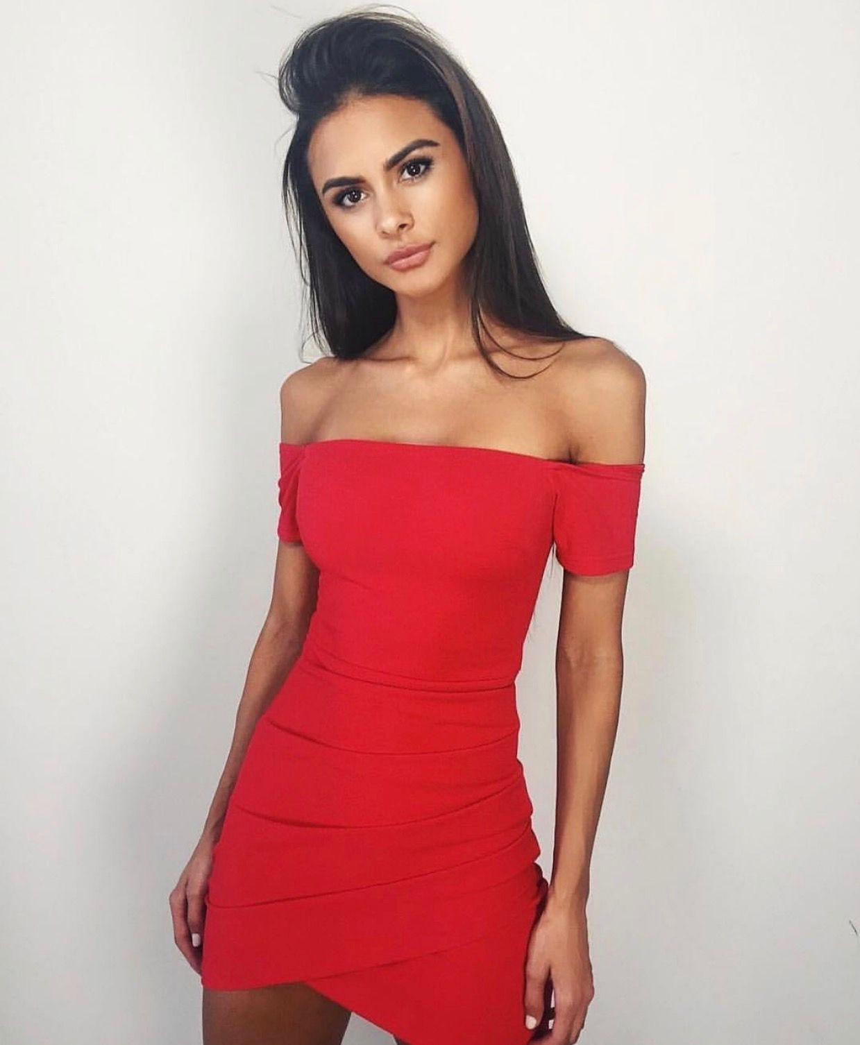 Goals pretty model red dress tight dress off the shoulder dress