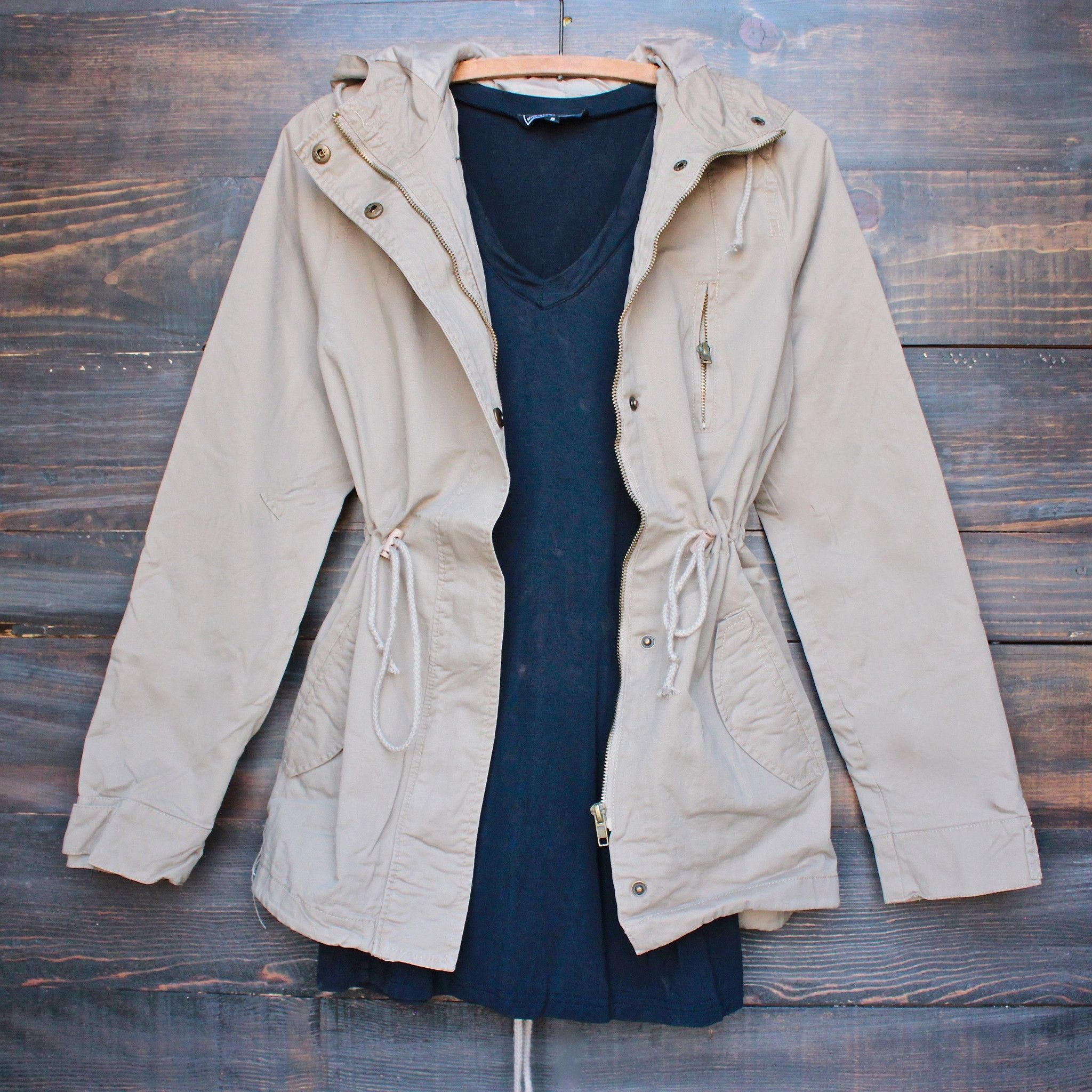 Utility parka jacket - olive green | Drawstring waist, Khakis and ...