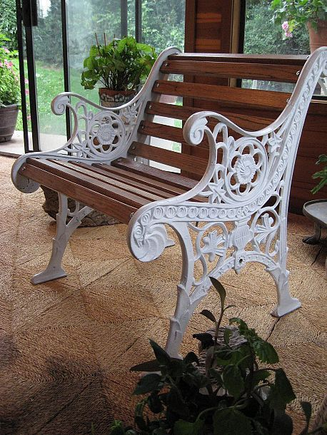 Old Rusty Bench Redo Repaint Cast Iron White Then Add Color To Slats