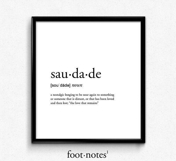 Saudade definition, dictionary art print, college dorm decor, dictionary art, office decor, minimali