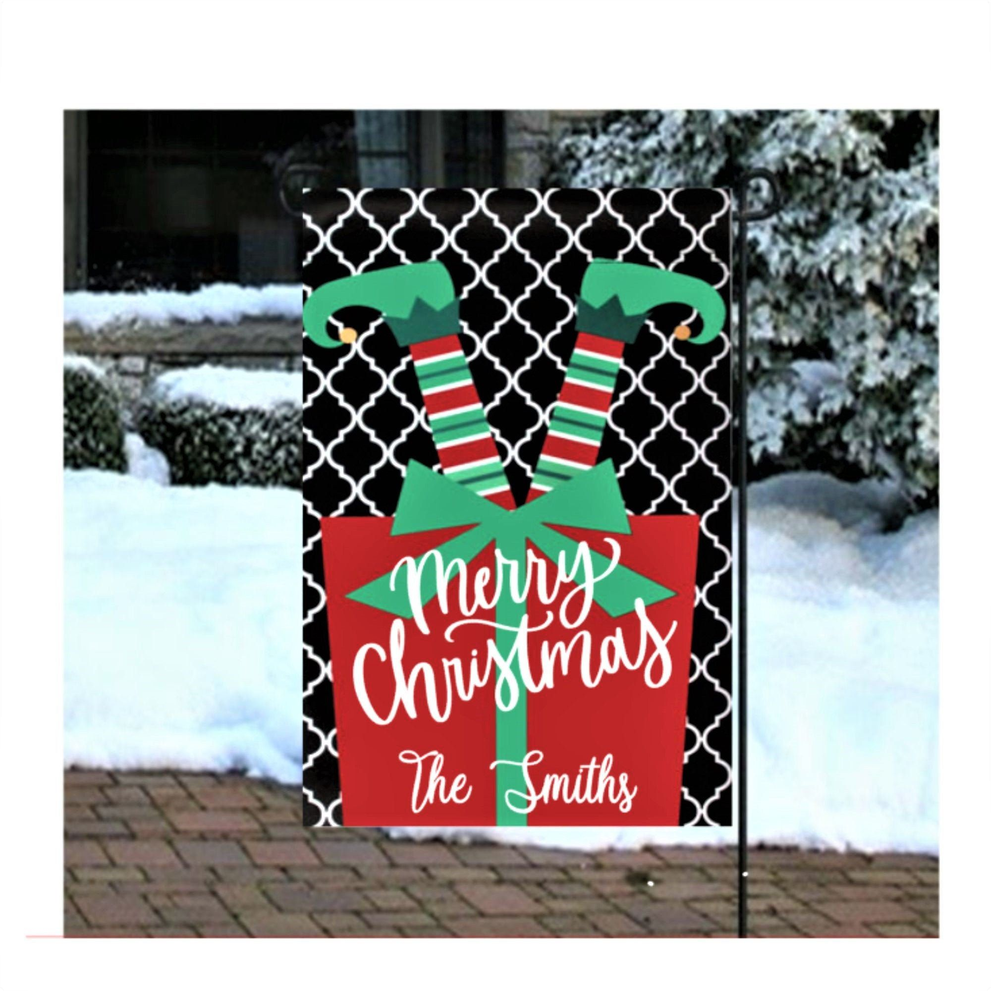 Christmas Elf Garden Flag Merry