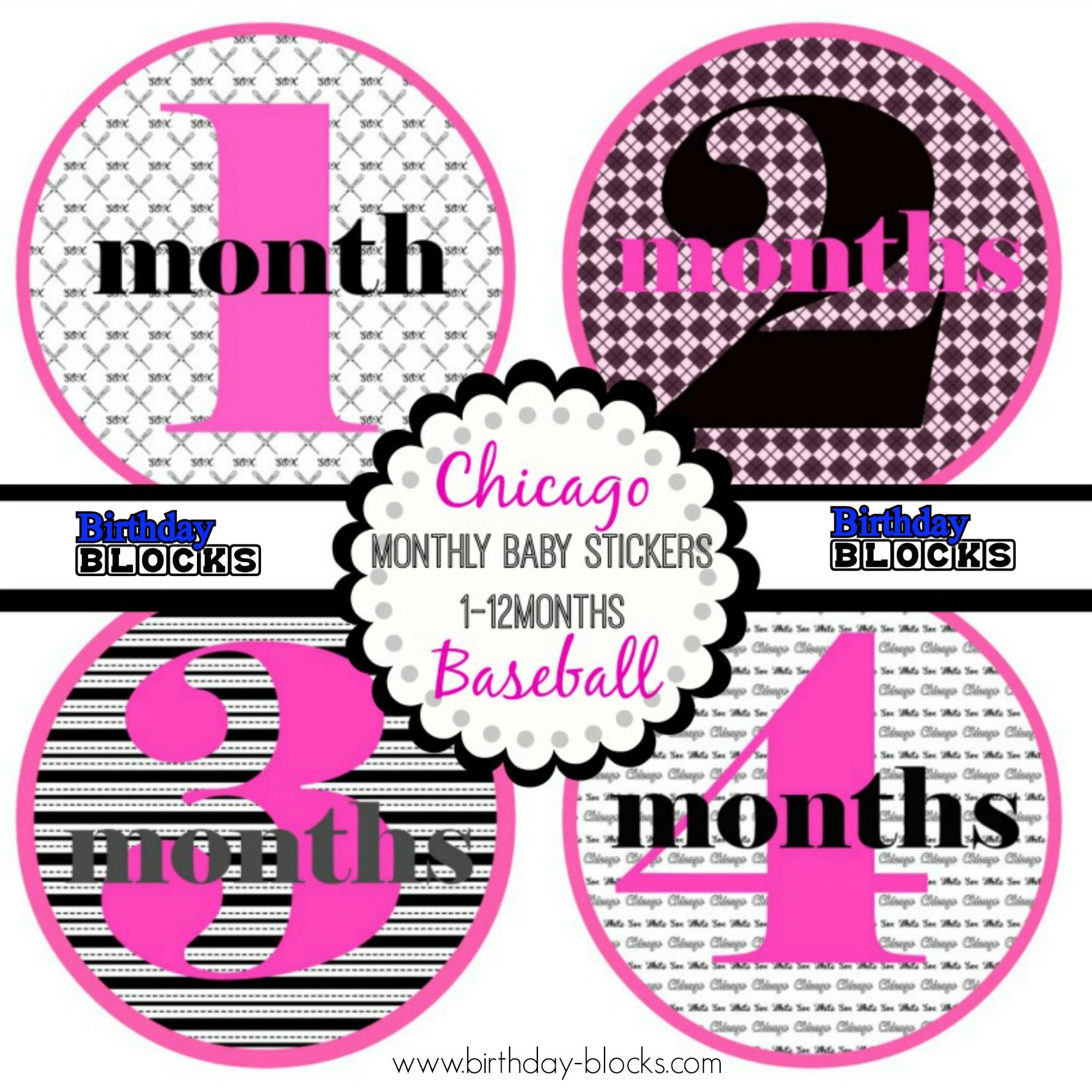 Babyshower Southside Chicago Baseball Monthly Photo Stickers, Girl