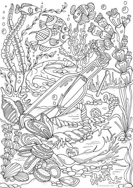 Colouring...message in a bottle   Adult Coloring Pages   Pinterest ...
