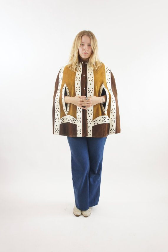60's Suede Leather Yellow / Brown / White Psychedelic Boho Hippie Cape Size Medium / Large