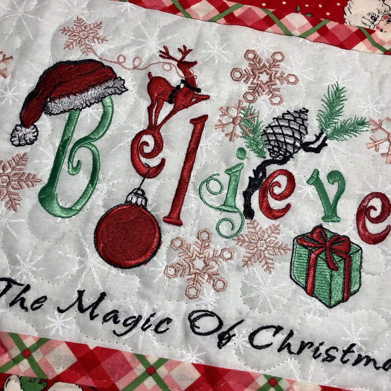 Believe In The Magic Of Christmas Quilted Table Runner Christmas Quilt Quilted Table Runner Christmas Magic