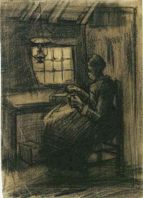 Vincent van Gogh: Woman Sewing,  Nuenen: March-April, 1885 (Amsterdam, Van Gogh Museum)  F 1205, JH 711