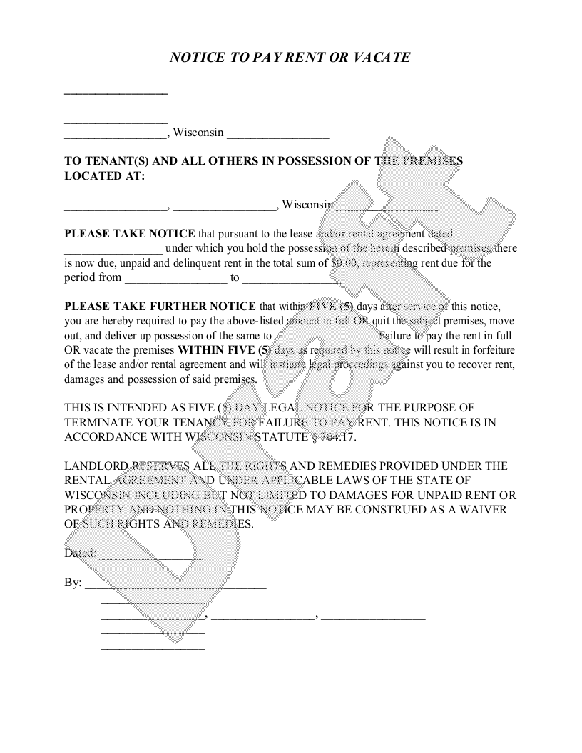 Sample Wisconsin Eviction Notice Form Template  Landlord