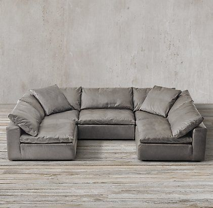 Leather Sectional Sofa Restoration Hardware Install Legs Cloud Cube Modular Sectionals