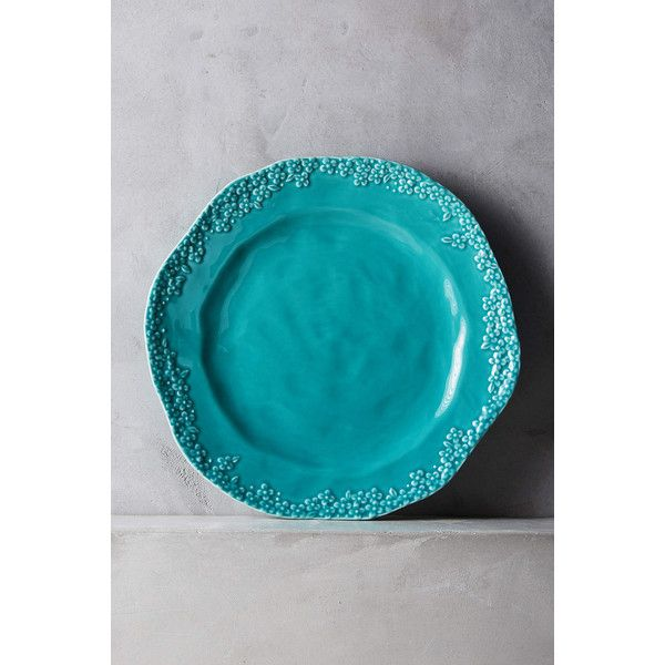 Anthropologie Abelia Dinner Plate ($16) ❤ liked on Polyvore featuring home, kitchen & dining, dinnerware, blue green, anthropologie, aqua dinnerware, stoneware dinnerware, stoneware dinner plates and microwave safe dinnerware