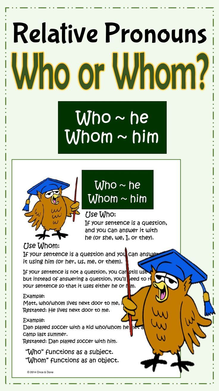 Who Whom Relative Pronouns Anchor Chart Center Activity